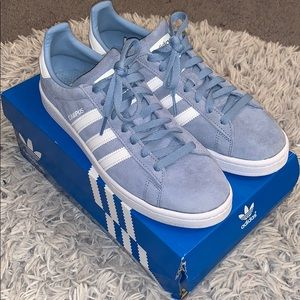 Light Blue Suede Adidas Sneakers